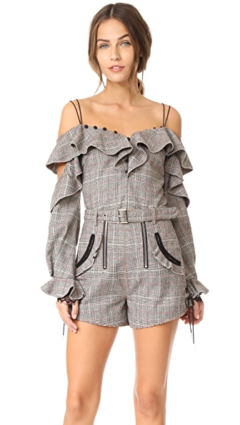 Self Portrait Wool Check Off Shoulder Frill Top In Grey Red