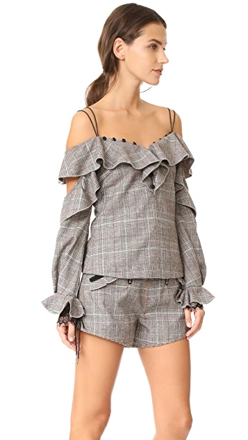 Self Portrait Wool Check Off Shoulder Frill Top
