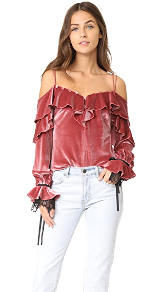 Self Portrait Velvet Off Shoulder Frill Top In Pink