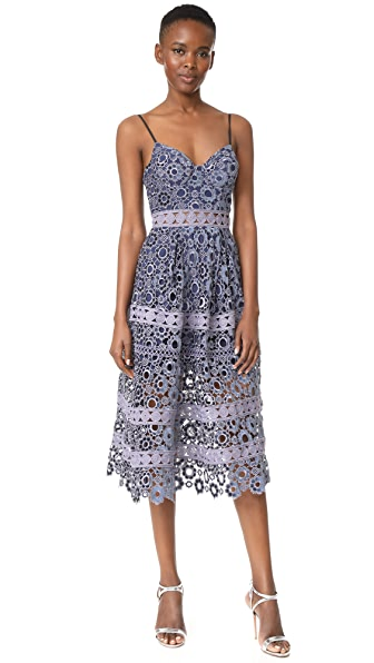 Self Portrait Floral Embroidery Cutout Midi Dress at Shopbop