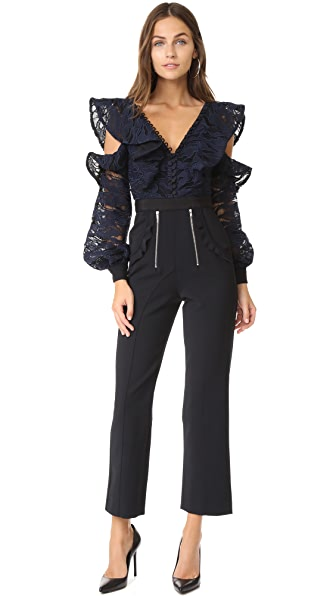 Self Portrait Camo Lace Frill Jumpsuit In Navy