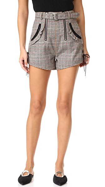 Self Portrait Checked Double Zip Shorts - Grey Red