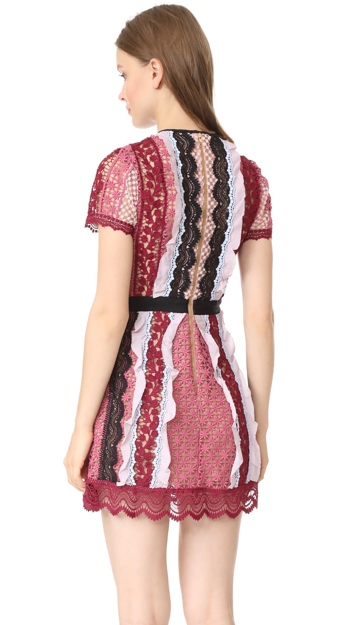97cd3b64492dc Self Portrait Panelled Bellis Lace Trim Mini Dress   SHOPBOP