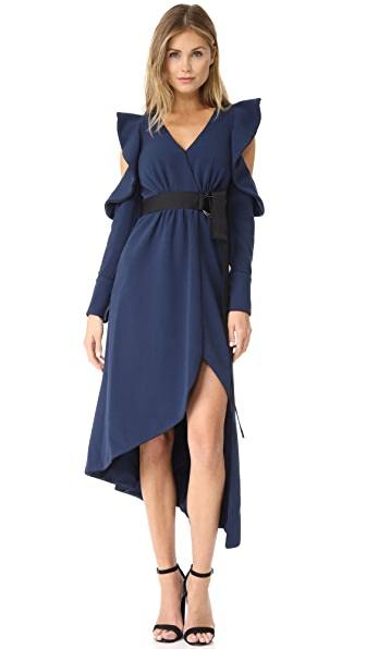 Self Portrait Navy Asymmetric Wrap Dress - Navy