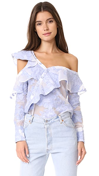 Self Portrait Filcoupe Frill Shirt In Blue