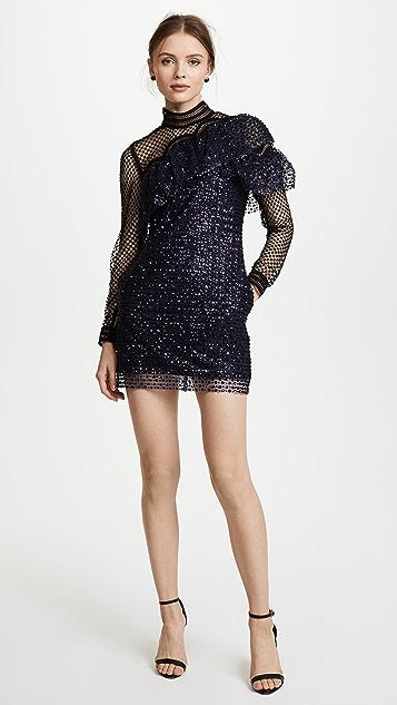 Self Portrait Glitter Mesh Asymmetric Frill Dress