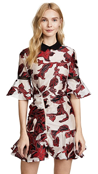 Self Portrait Floral Fil Coupe Dress In Red