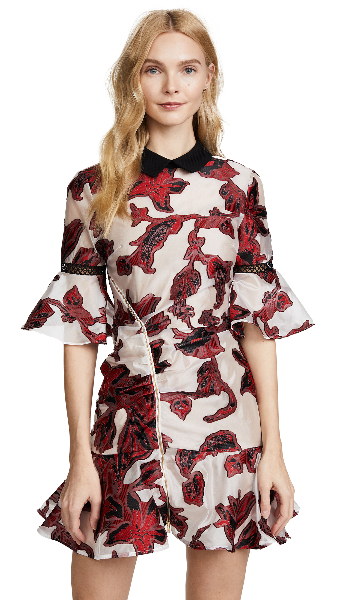Self Portrait Floral Fil Coupe Dress - Red