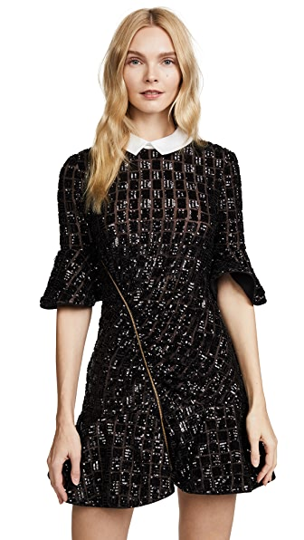 Self Portrait Sequin Embroidery Dress In Black