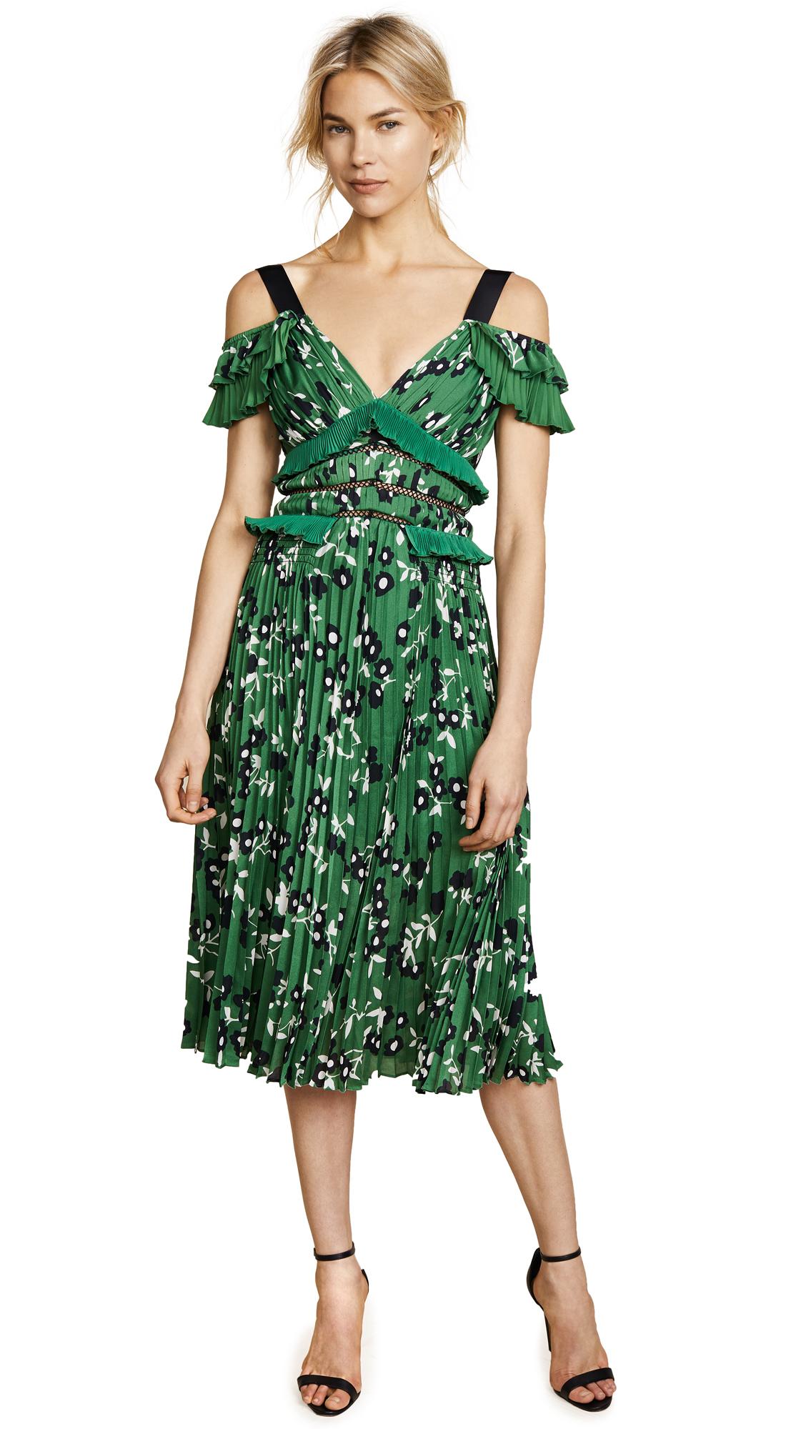Self Portrait Cold Shoulder Floral Printed Dress - Green