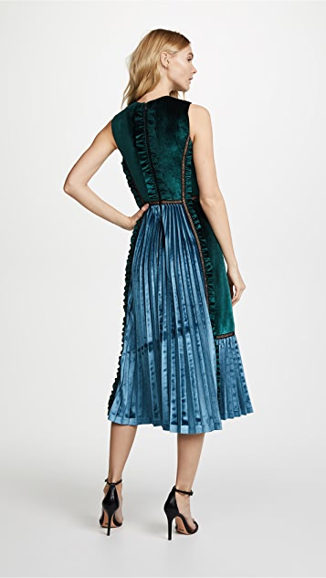 Self Portrait Two Tone Velvet Midi Dress
