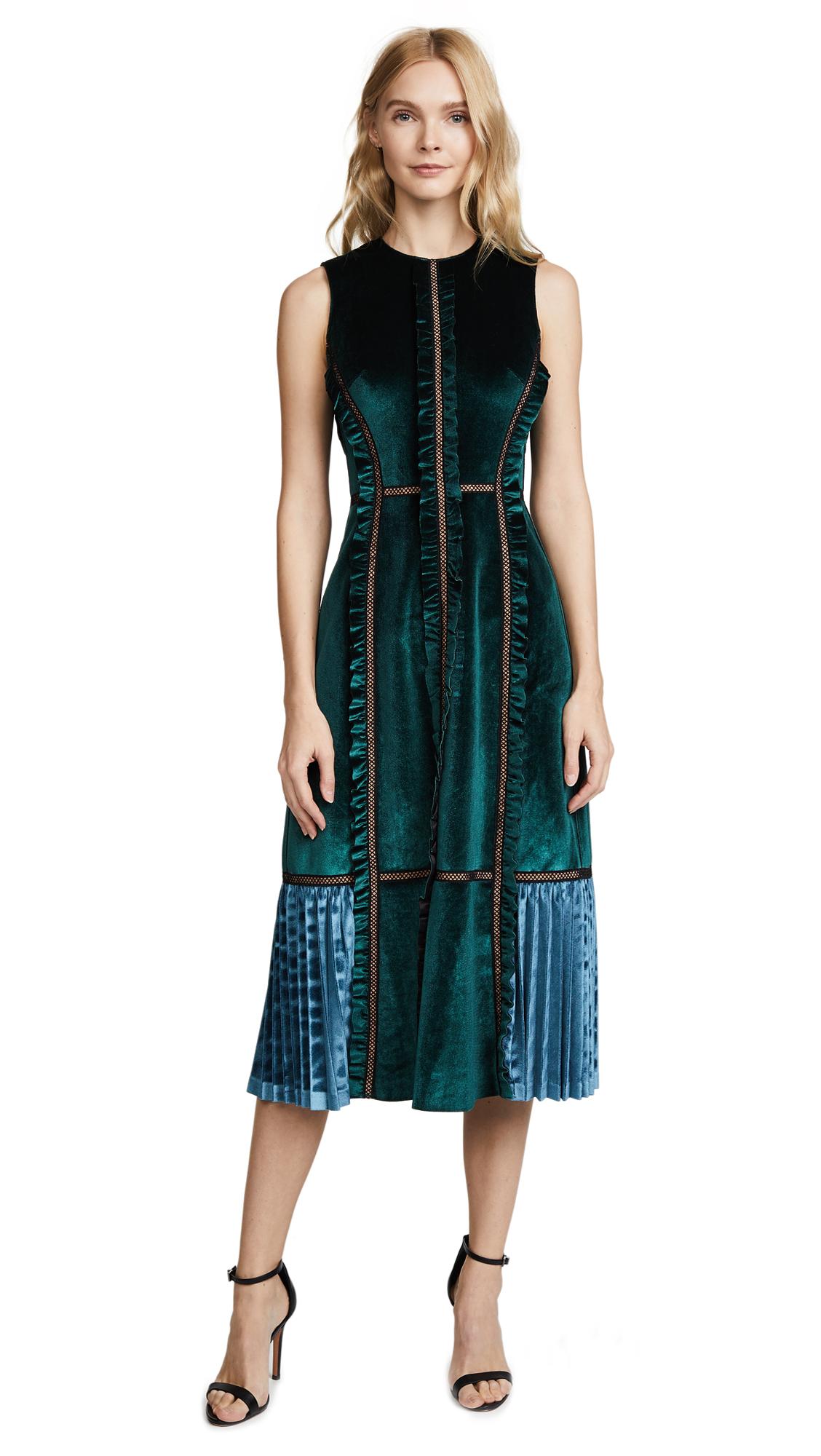Self Portrait Two Tone Velvet Midi Dress - Forest Green