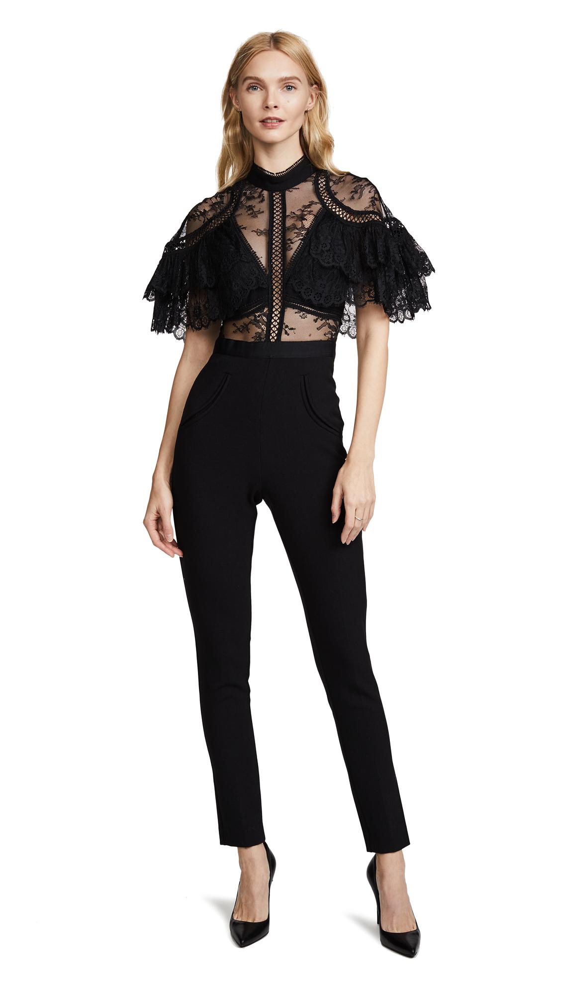 Self Portrait Fine Lace Paneled Jumpsuit - Black