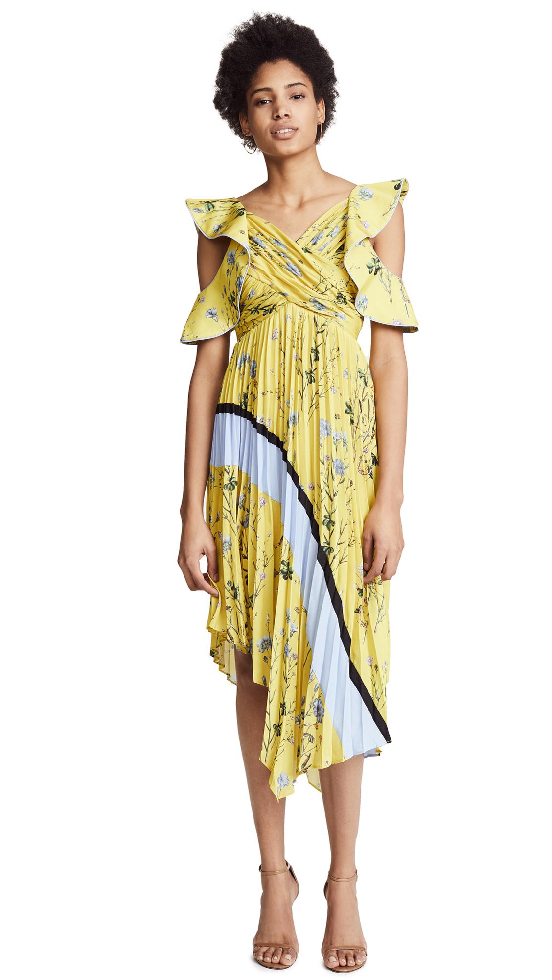 Self Portrait Pleated Asymmetric Floral Dress - Yellow