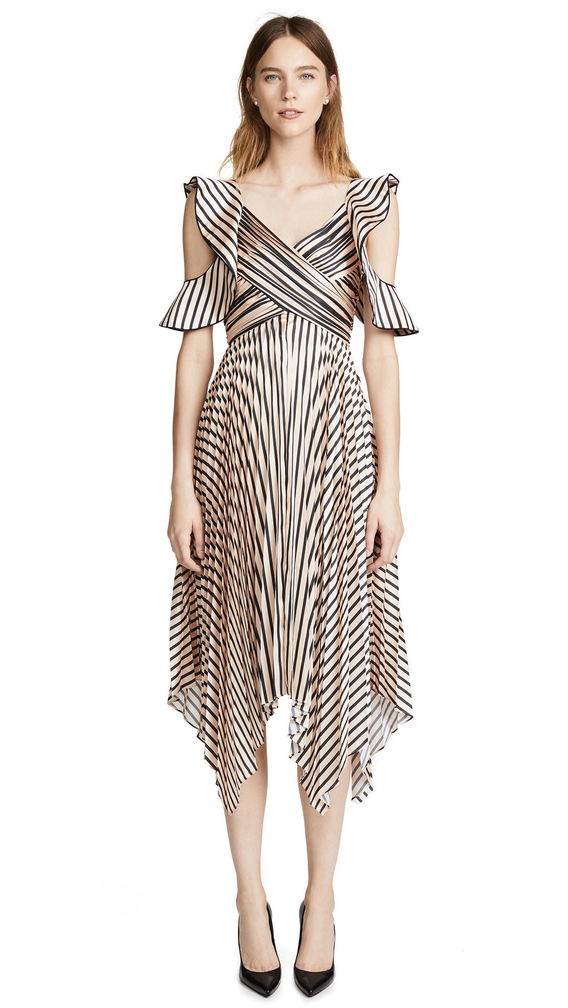 Self Portrait Stripe Midi Dress - Nude/Black