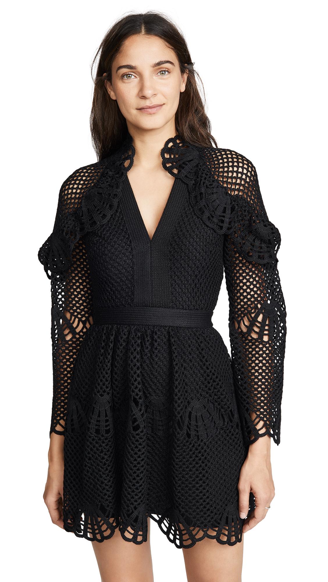 Self Portrait Crochet Mini Dress In Black