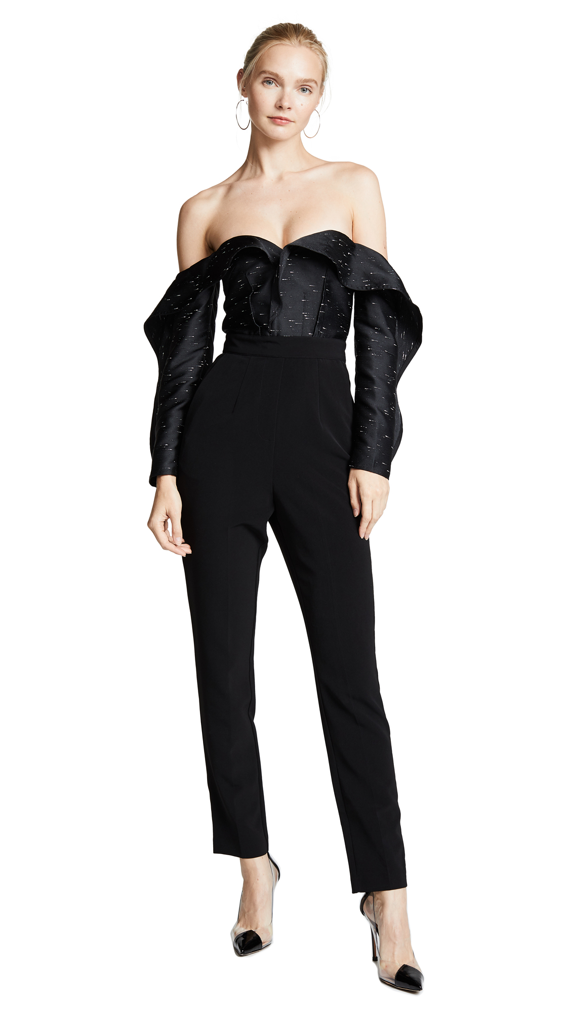 Jacquard Off-The-Shouler Jumpsuit in Black