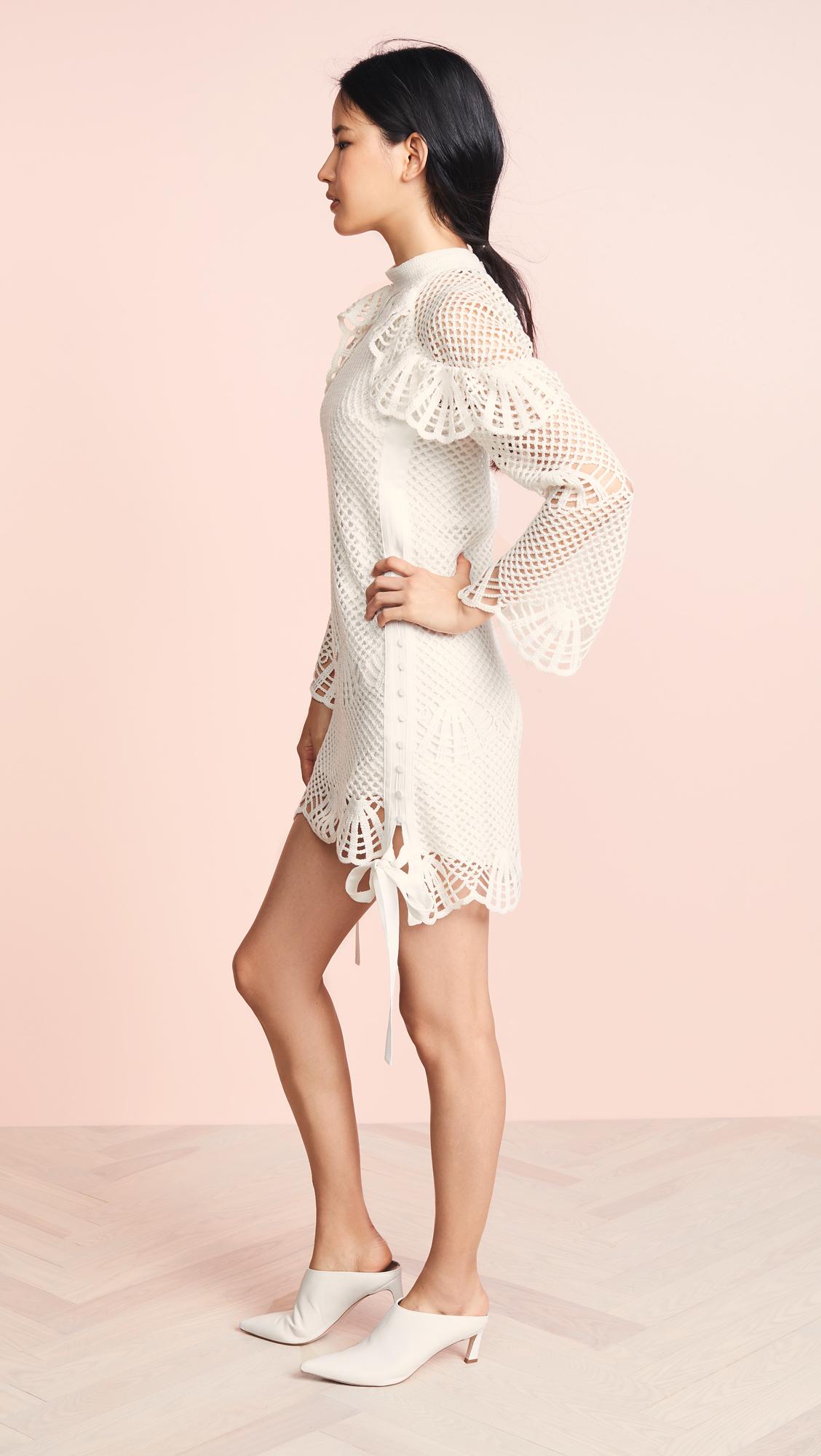 42da075f32c1 Self Portrait High Neck Crochet Dress