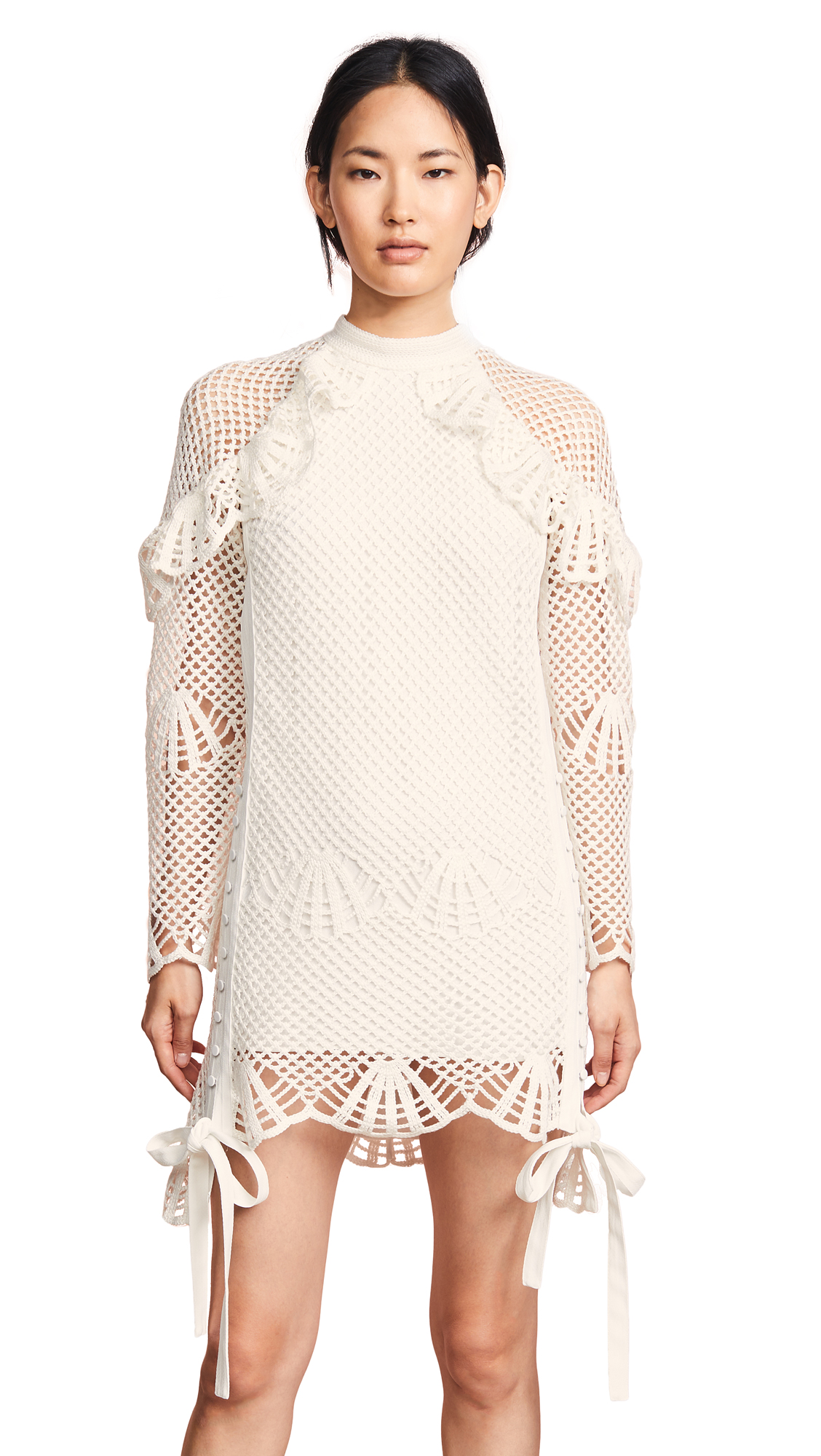 Self Portrait High Neck Crochet Dress