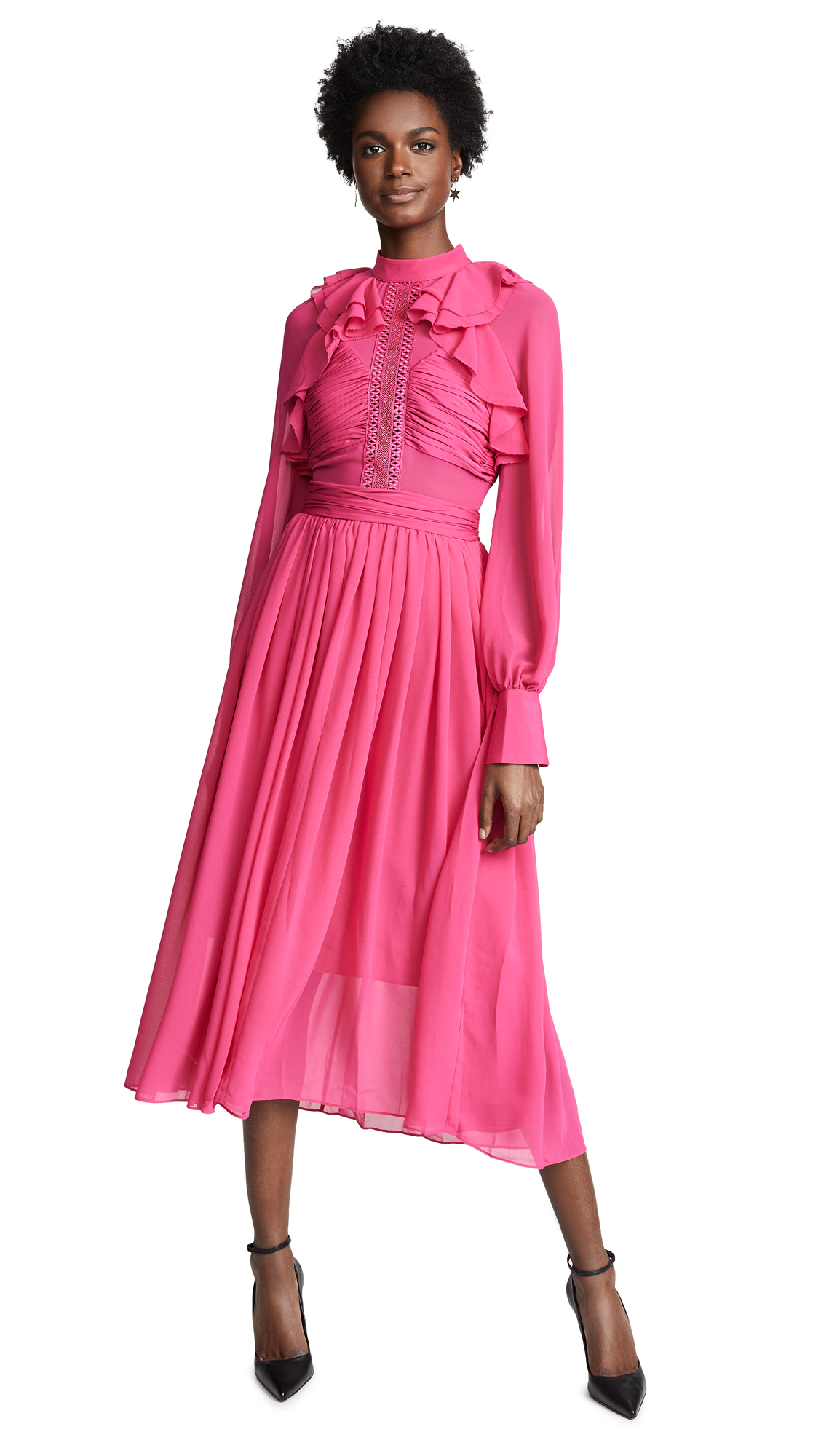 Self Portrait Midi Dress - Fuchsia