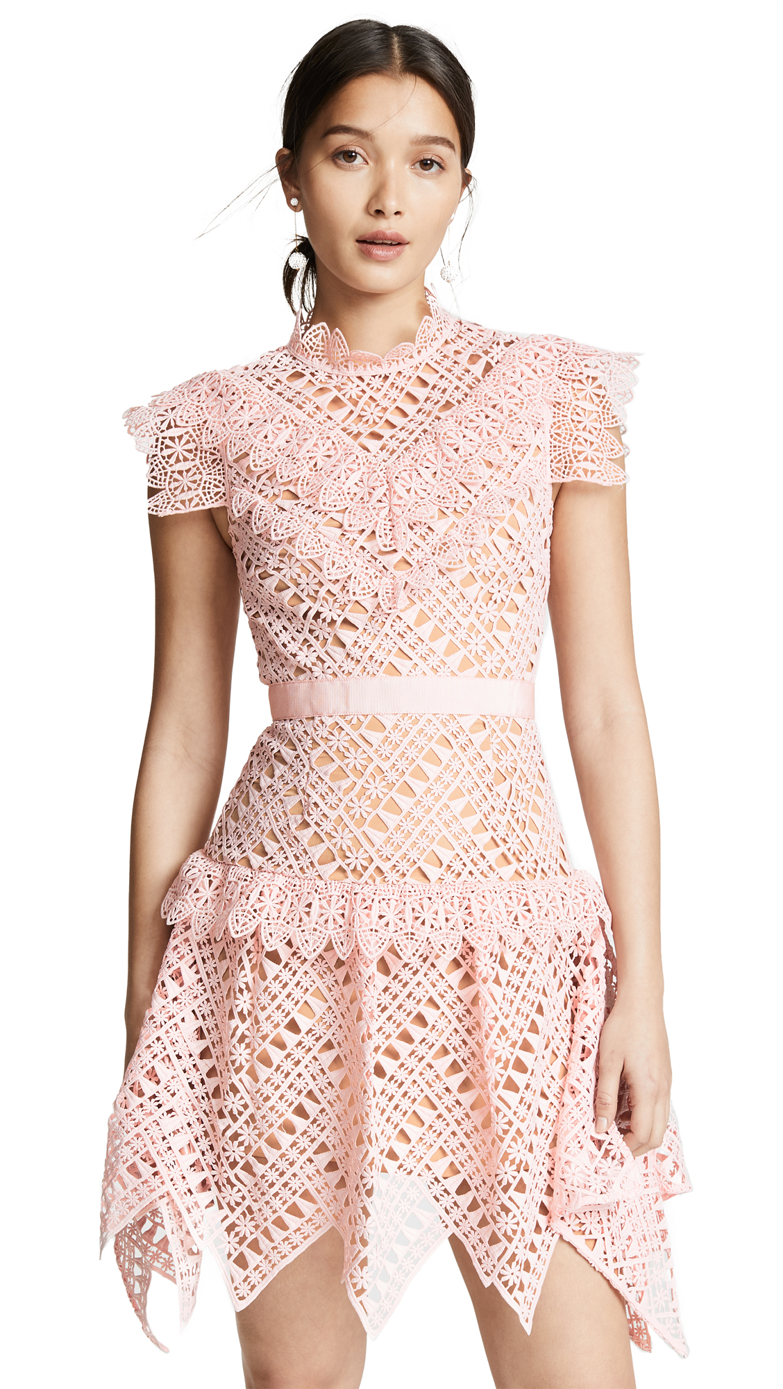 Self Portrait Abstract Triangle Lace Dress - Pink