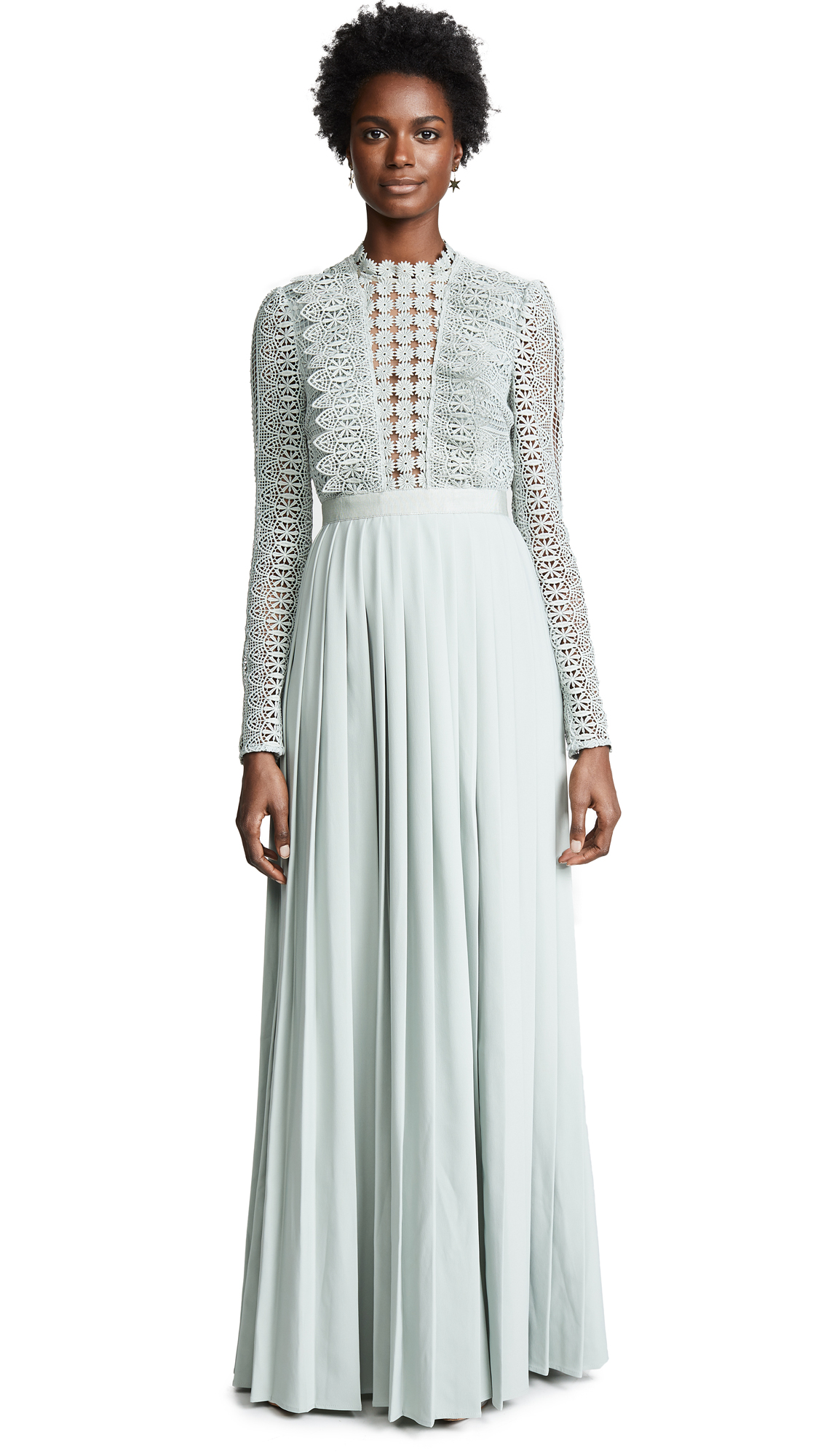 Self Portrait Spiral Lace Maxi Dress - Grey Blue