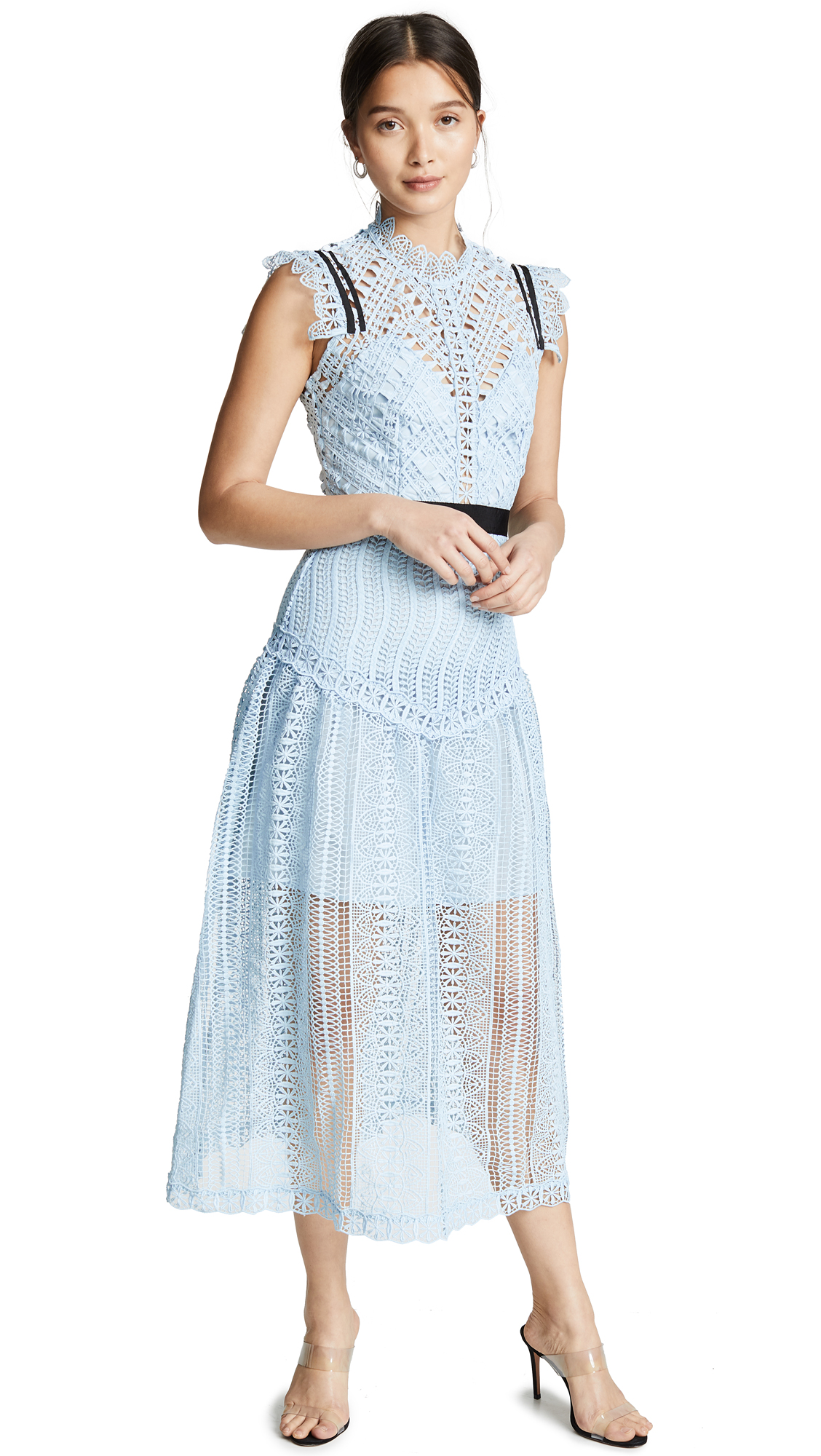 Self Portrait Abstract Lace Midi Dress - Blue