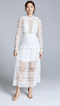 f2d0f1c05c4f Self Portrait. Spiral Lace Paneled Midi Dress
