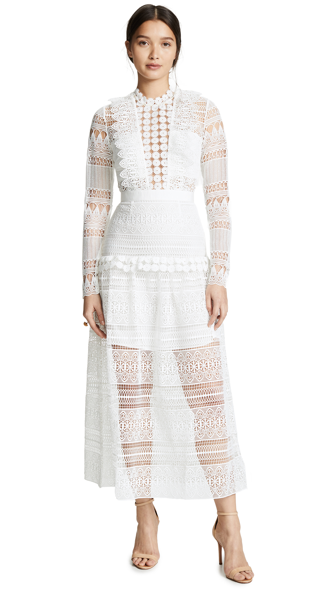 Self Portrait Spiral Lace Paneled Midi Dress - Ivory