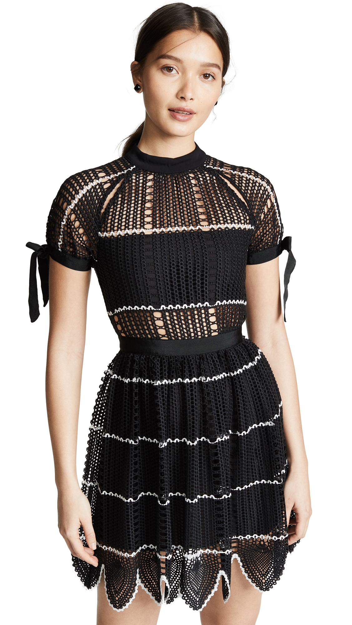 Self Portrait Crochet Dress - Black