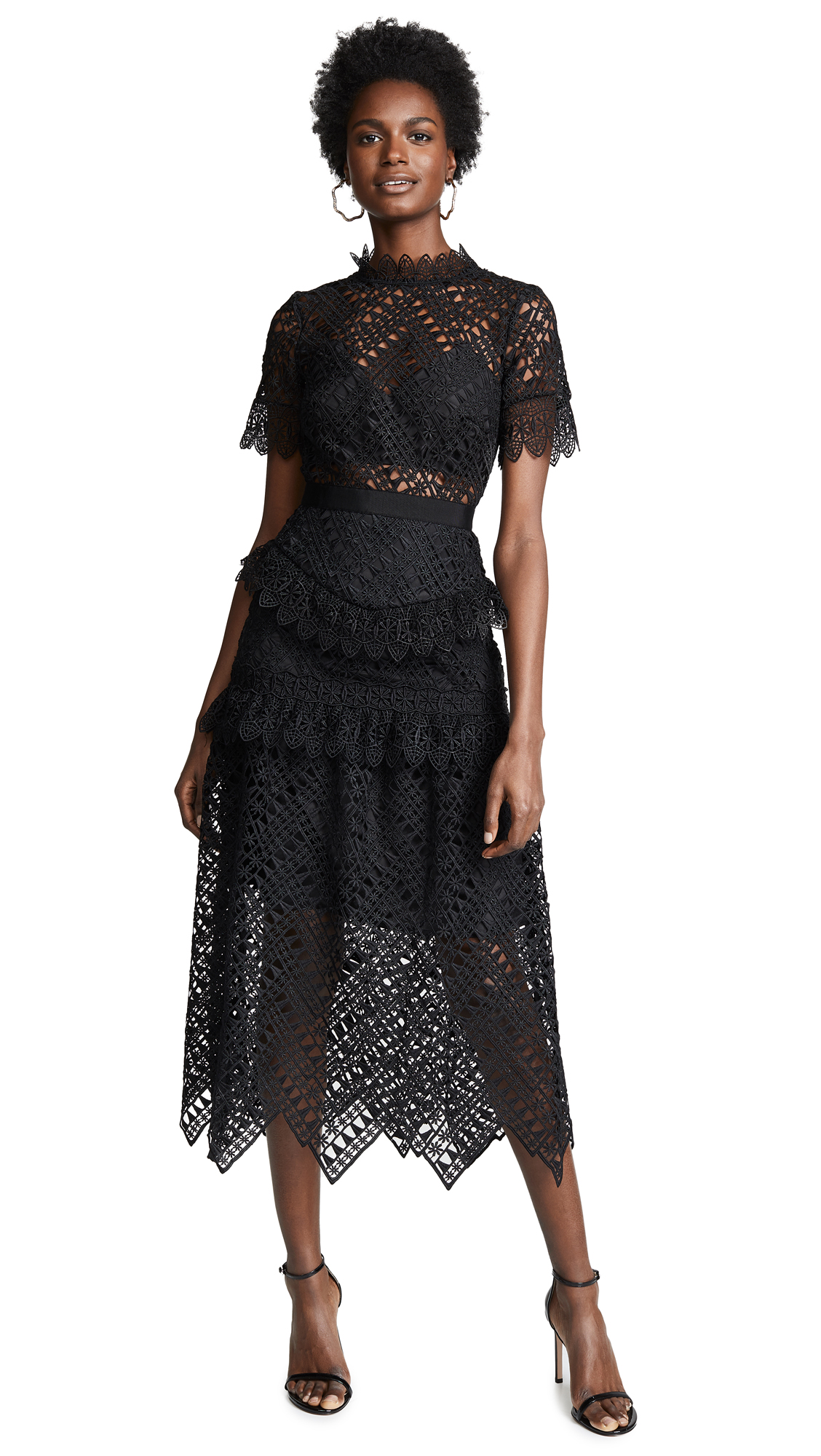 Self Portrait Abstract Triangle Lace Dress - Black