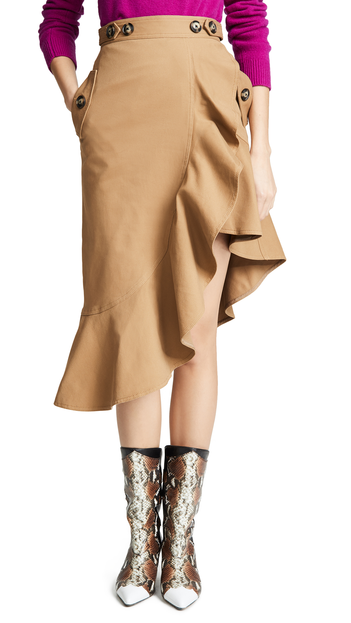 Self Portrait Flounced Skirt - Camel