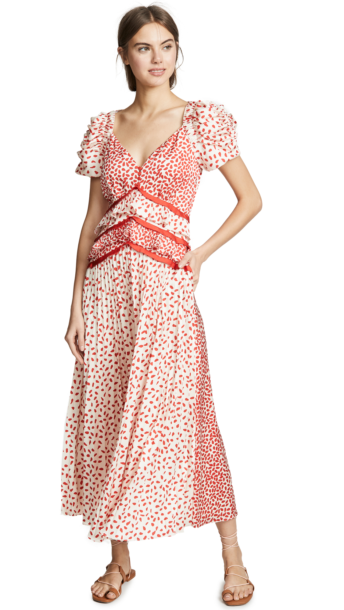Self Portrait Dot Satin Printed Dress - Cream/Red