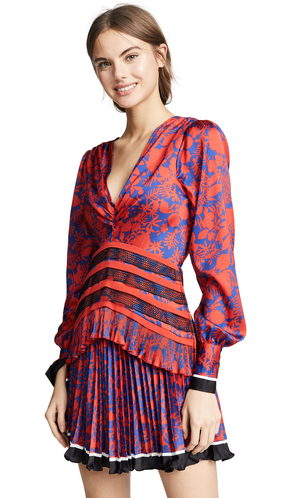 Self Portrait Printed Dress - Red/Blue
