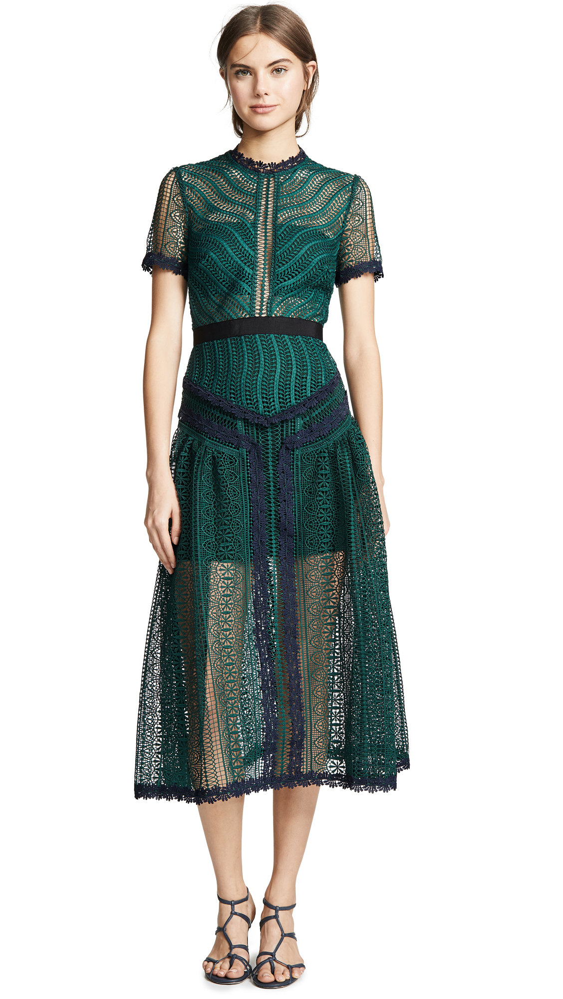 Self Portrait Wave Lace Dress - Green
