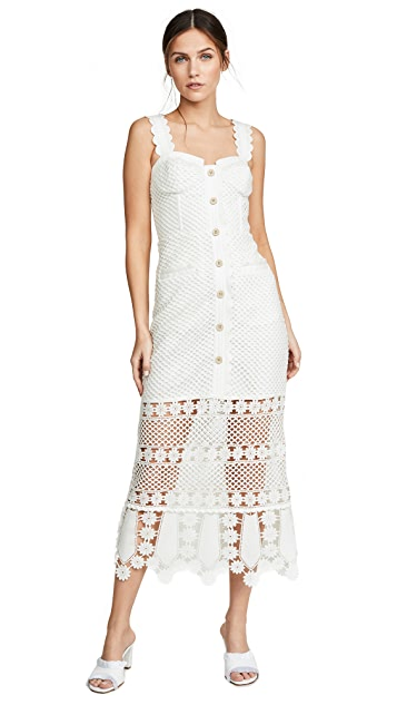 Self Portrait Fishnet Crochet Lace Midi Dress