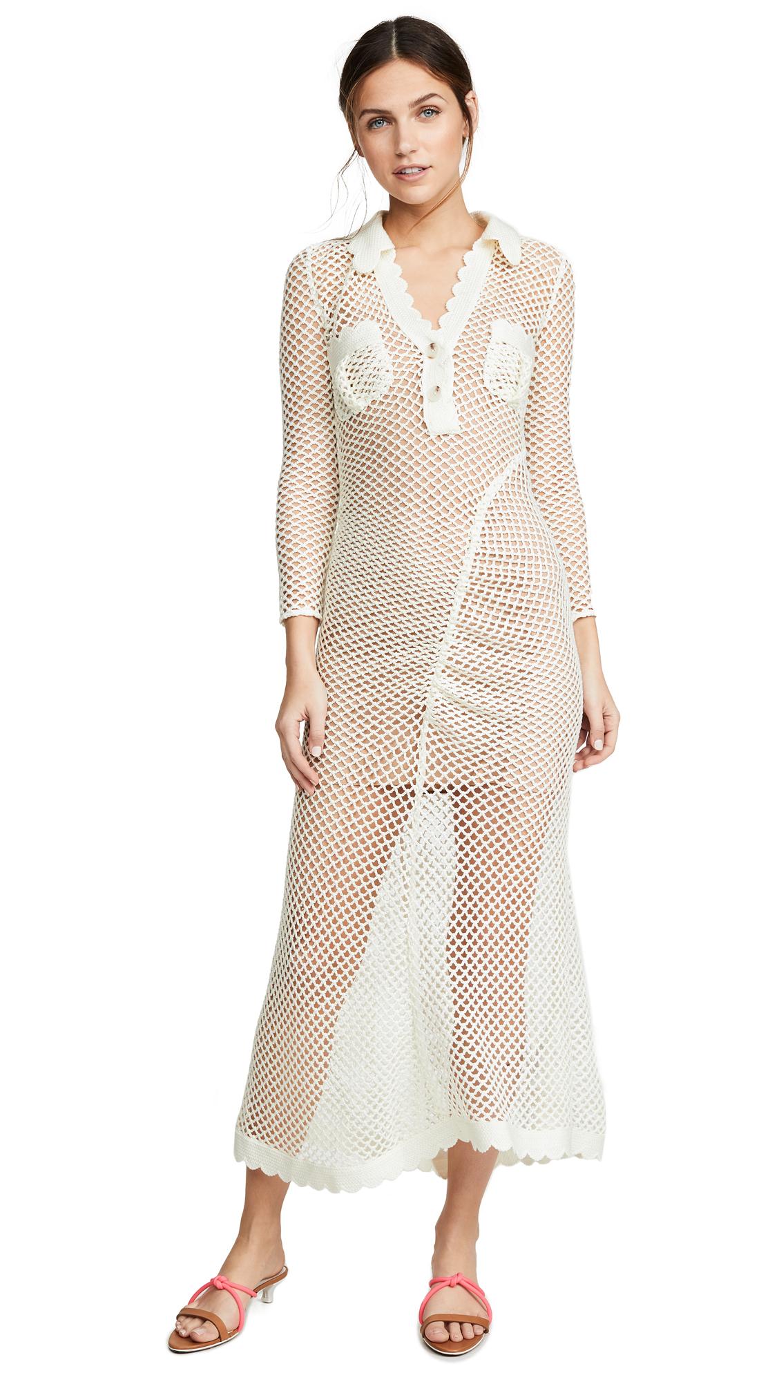 Self Portrait Fishnet Crochet Lace Dress - Ecru