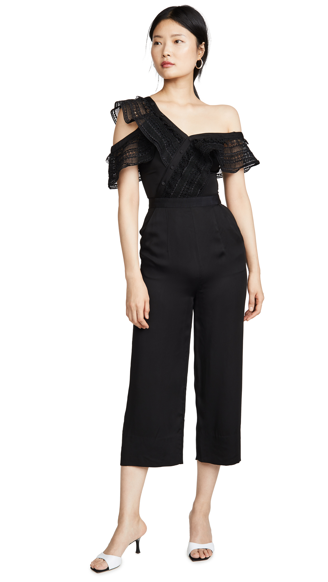 Buy Self Portrait online - photo of Self Portrait One Shoulder Frilled Jumpsuit