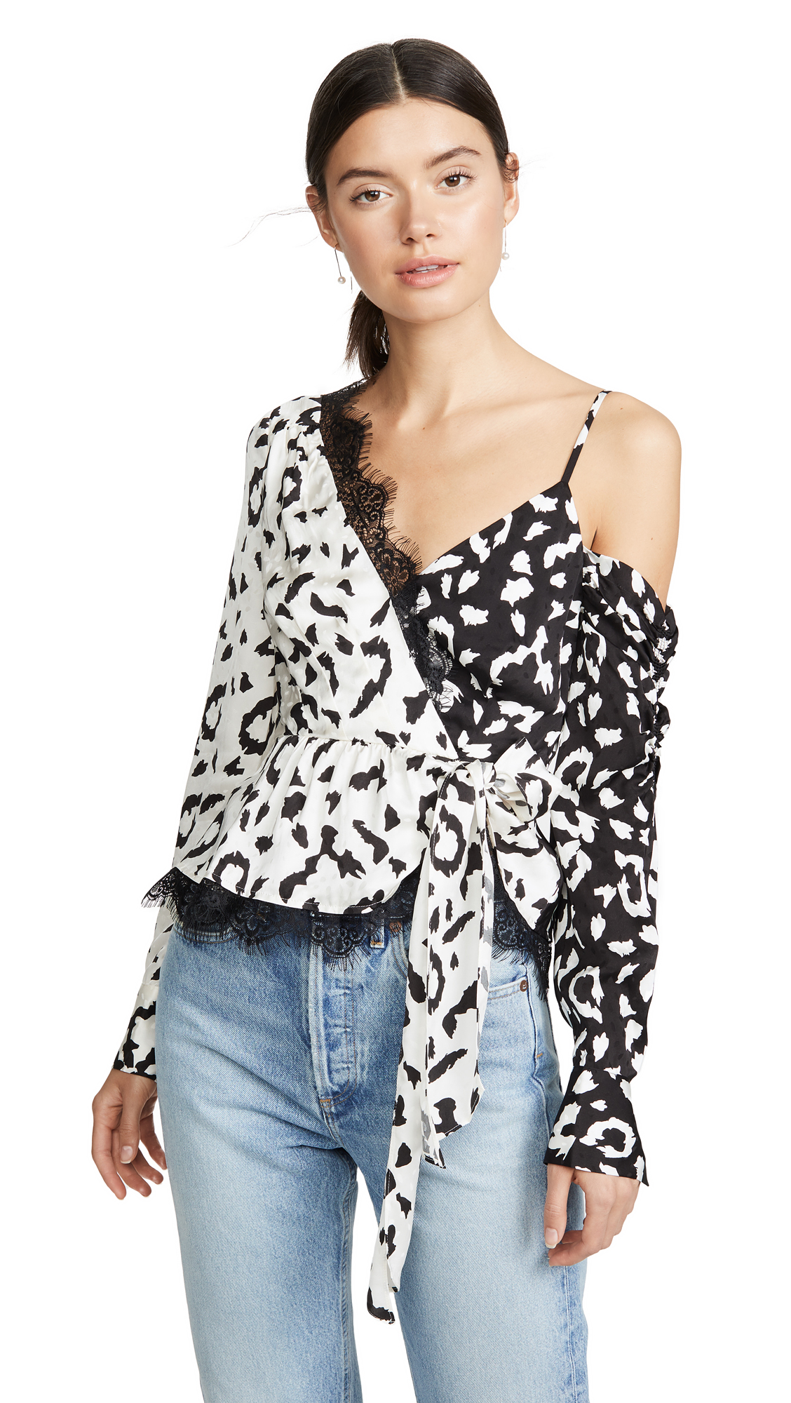 Buy Self Portrait online - photo of Self Portrait Leopard Printed Wrap Top
