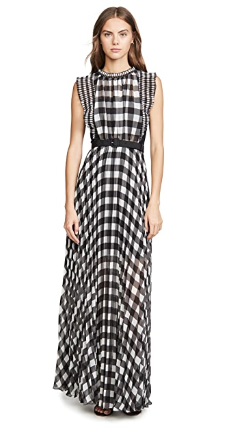 Self Portrait Gingham Printed Chiffon Dress