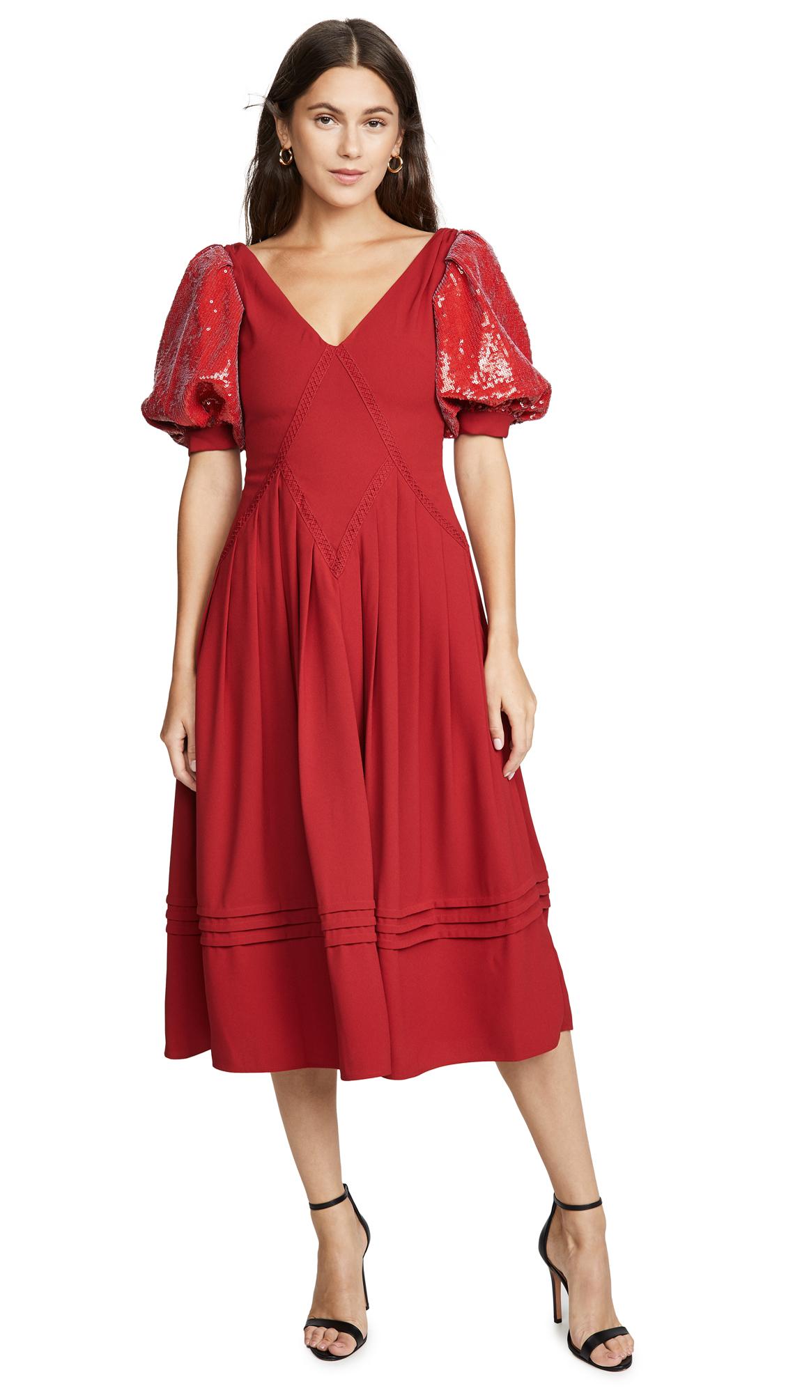 Self Portrait Red Sequin Short Sleeve Midi Dress - Dark Red