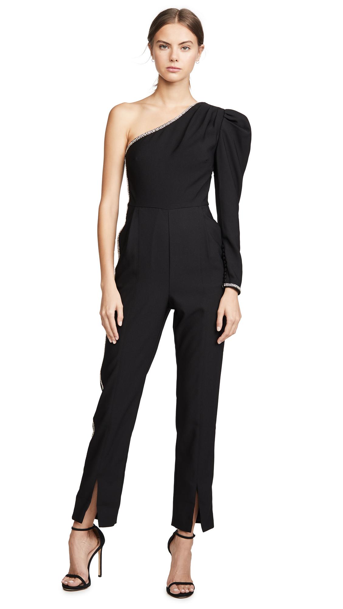 Buy Self Portrait online - photo of Self Portrait One Shoulder Crepe Jumpsuit