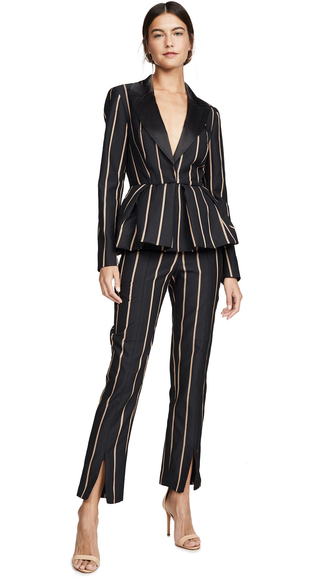 Buy Self Portrait online - photo of Self Portrait Tailoring Stripe Jumpsuit