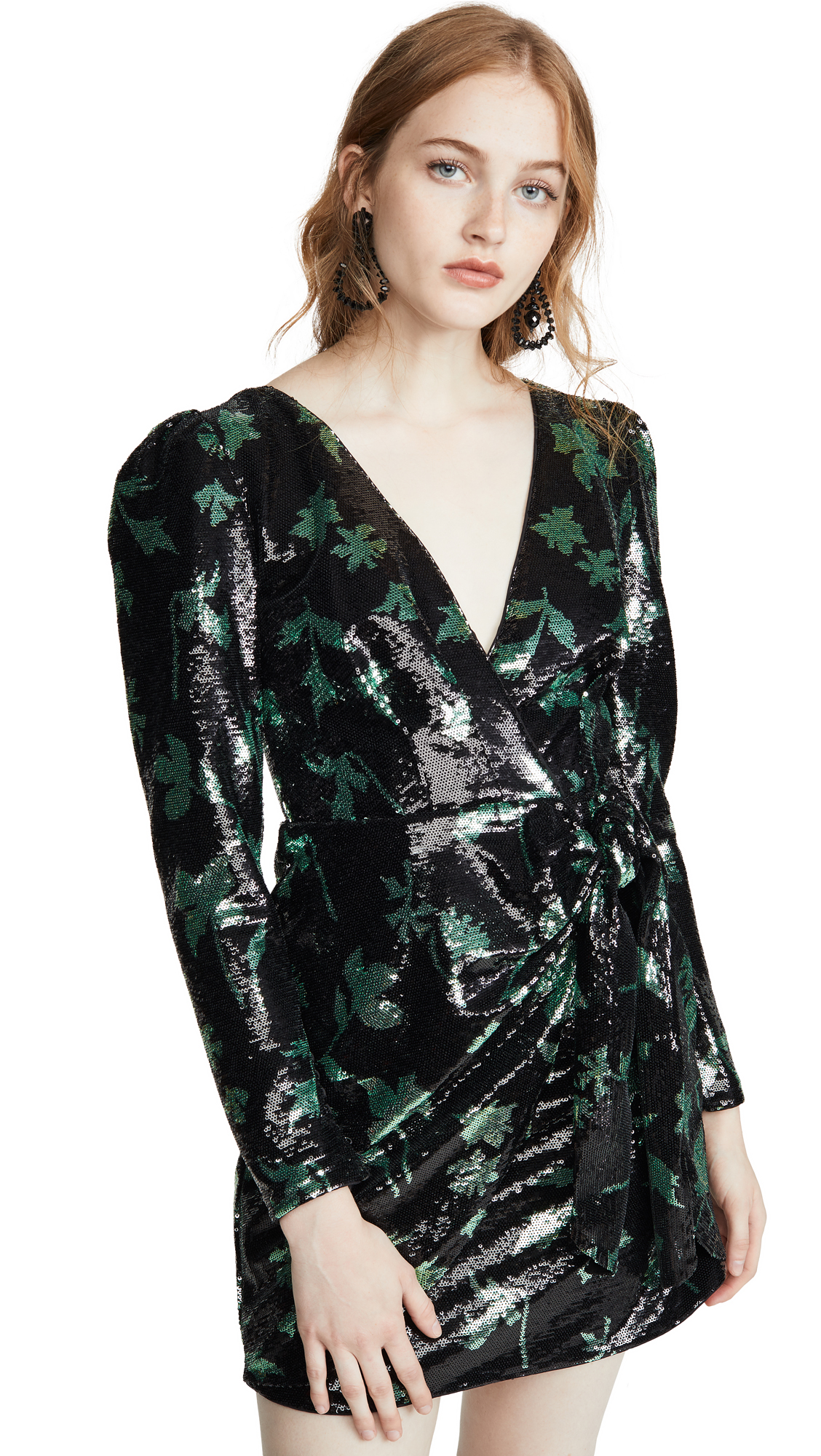 Buy Self Portrait online - photo of Self Portrait Leaf Sequin Mini Dress