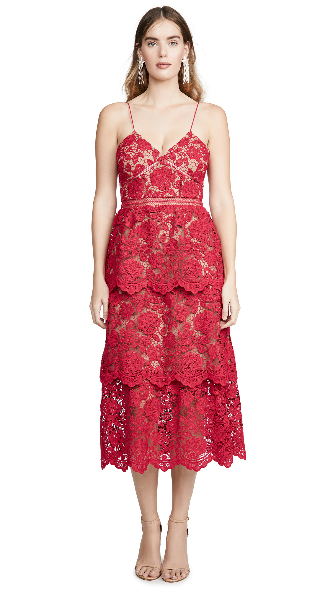 Buy Self Portrait online - photo of Self Portrait Flower Lace Midi Dress