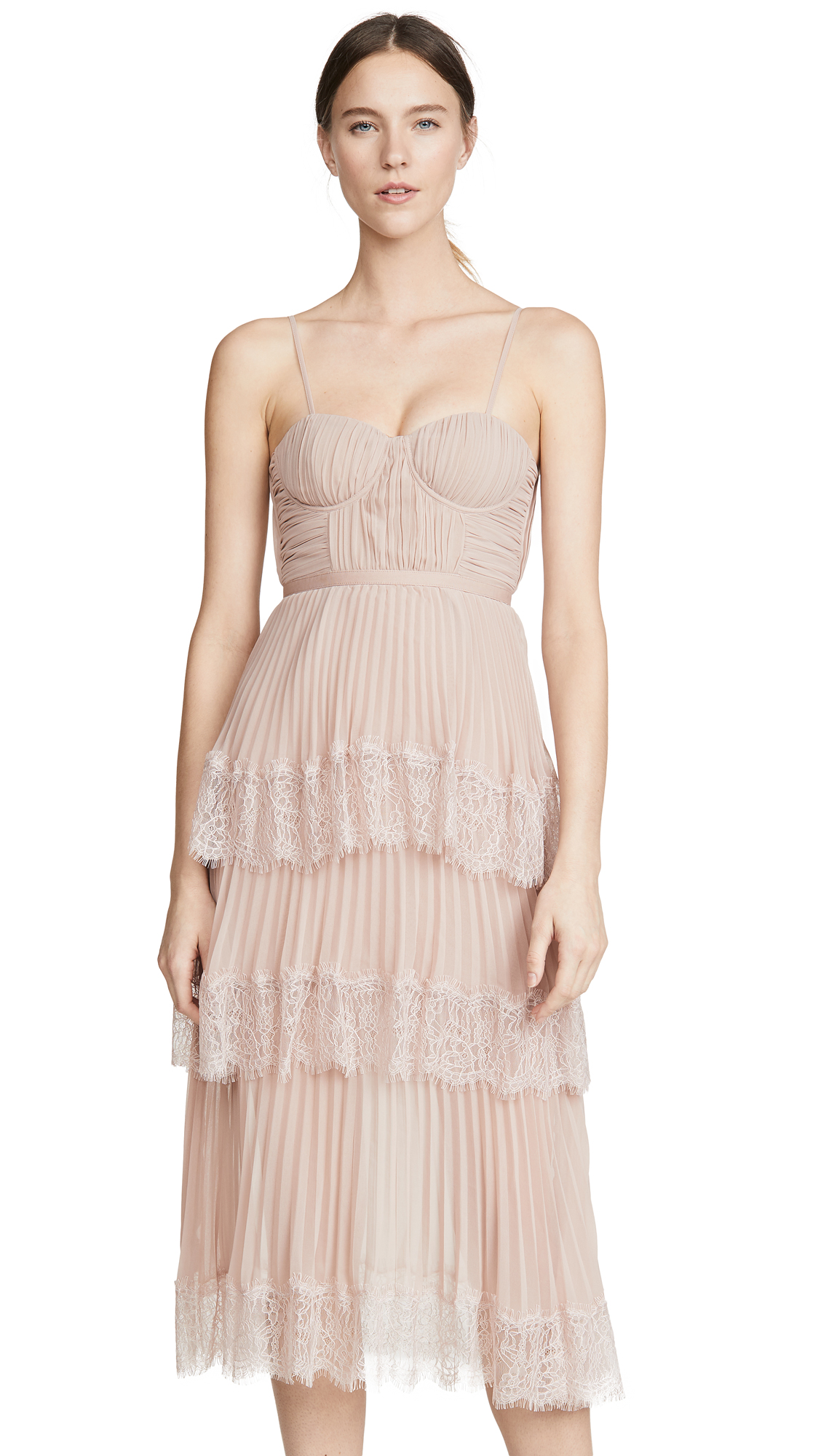 Buy Self Portrait online - photo of Self Portrait Chiffon Lace Tiered Midi Dress