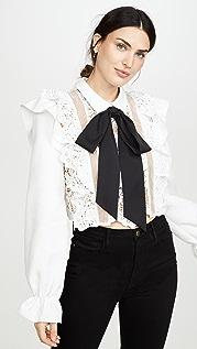 Self Portrait Flower Lace Tie Top