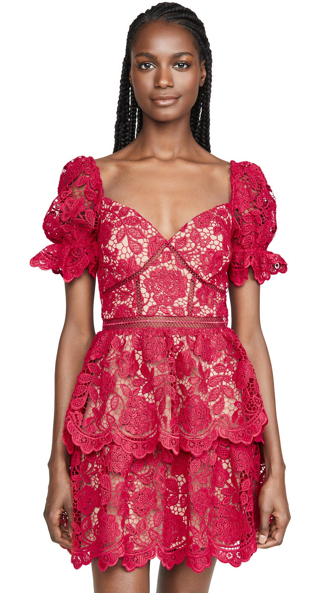 Buy Self Portrait online - photo of Self Portrait Flower Lace Mini Dress