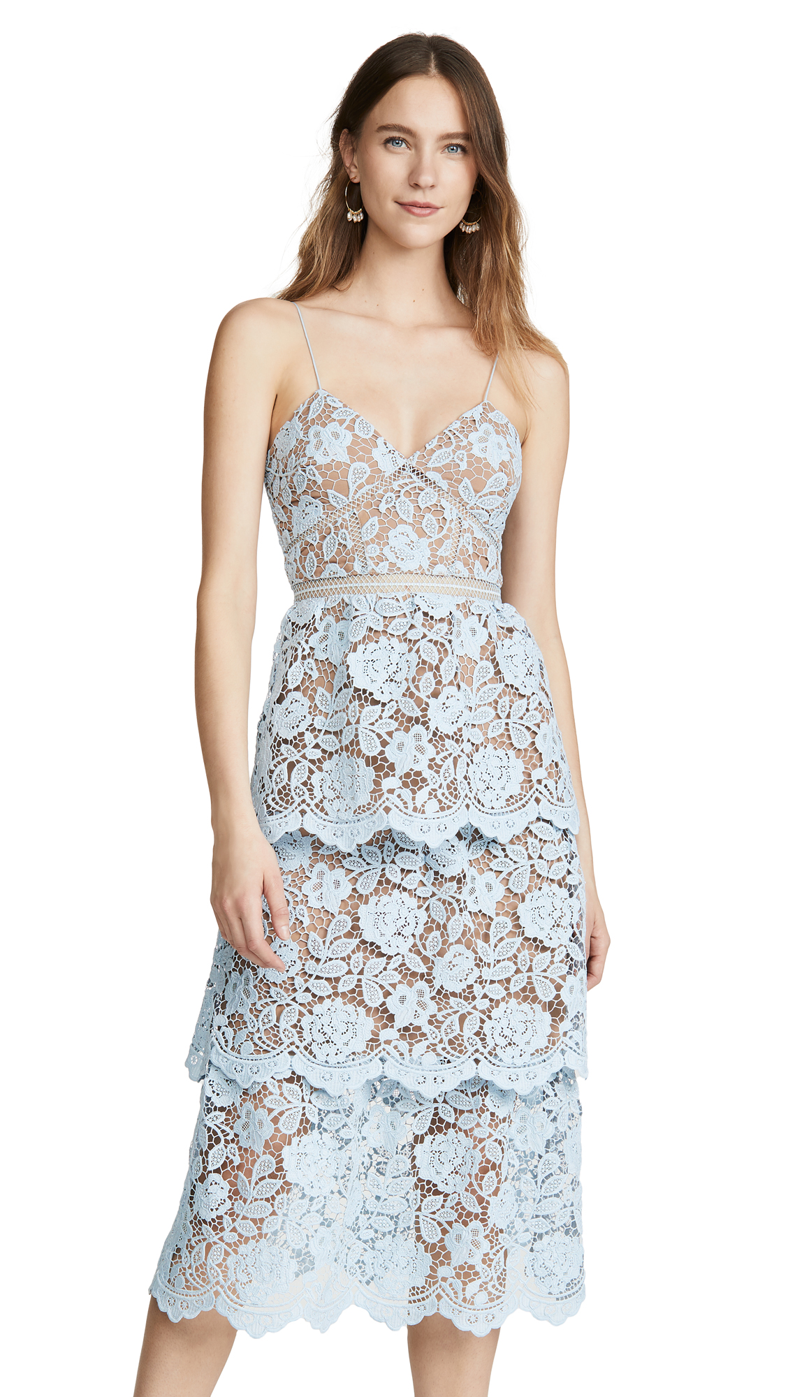 Buy Self Portrait online - photo of Self Portrait Flower Lace Midi Tiered Dress