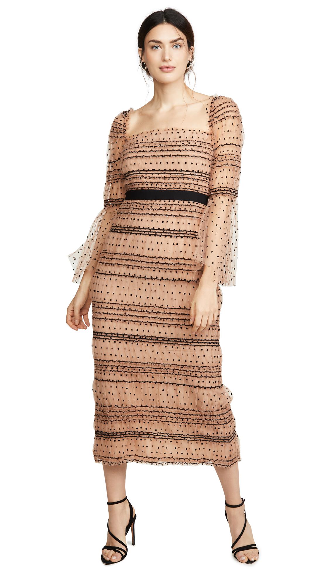 Buy Self Portrait Shirred Polka Dot Midi Dress online beautiful Self Portrait Clothing, Dresses